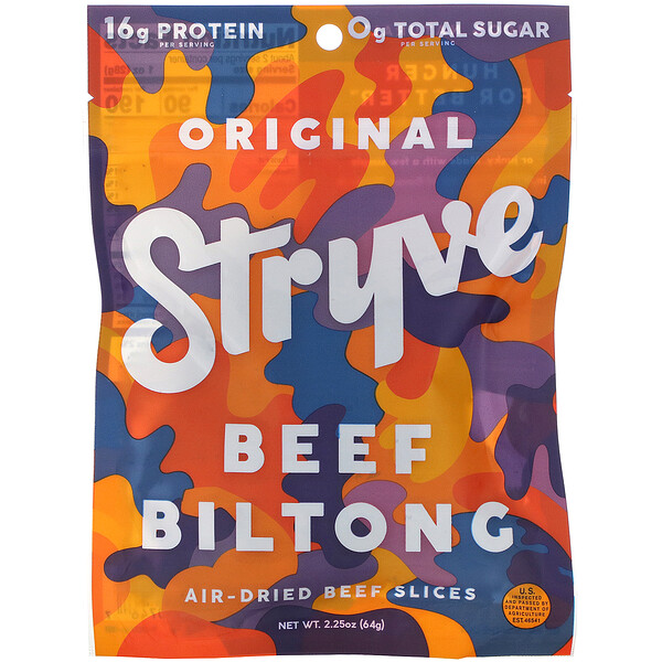 Stryve Foods, Beef Biltong, Air-Dried Beef Slices, Original, 2.25 oz (64 g) (Discontinued Item)