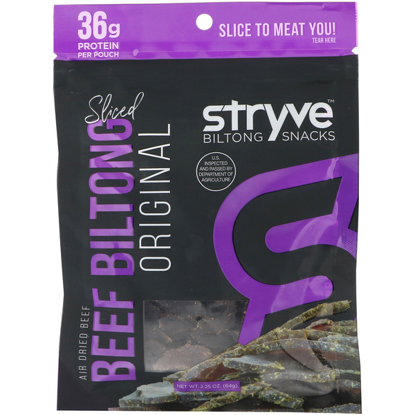 Stryve Foods, Biltong Snacks, Sliced Beef Biltong, Original, 2.25 oz (64 g)