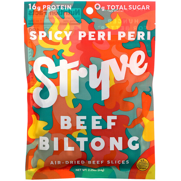 Stryve Foods, Beef Biltong, Air-Dried Beef Slices, Spicy Peri Peri, 2.25 oz (64 g) (Discontinued Item)