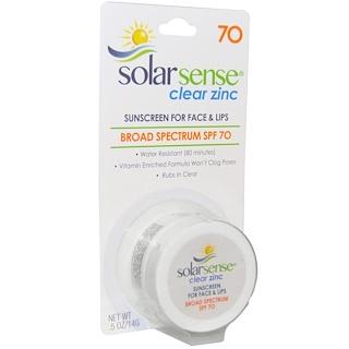 """Solar Sense, """"Klar Zink, Sonnenschutz, SPF 70, Gesicht & Lippen, .5 oz (14 g)"""""""