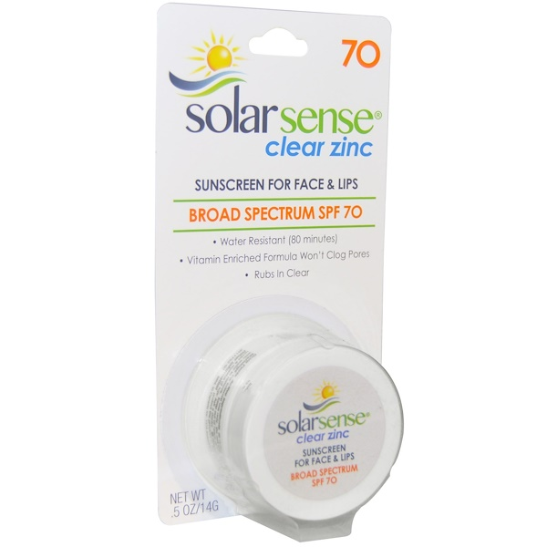 Solar Sense, Clear Zinc, Sunscreen, SPF 70, Face & Lips, .5 oz (14 g)