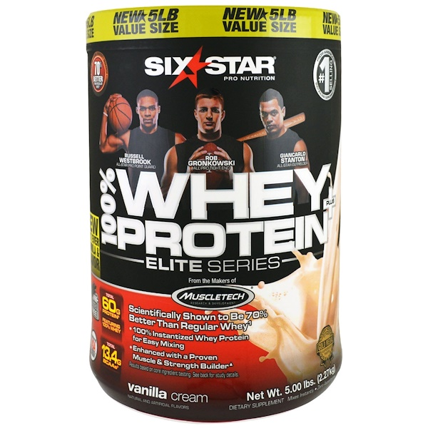 Six Star, Elite Series 100% Whey Protein Plus,Vanilla Cream, Net Wt 5 lbs (2.27 kg) (Discontinued Item)