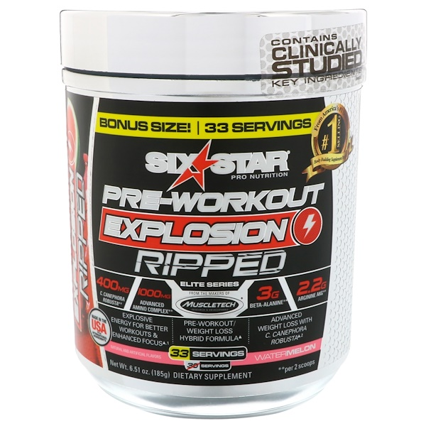 Six Star, Pre-Workout Explosion Ripped البطيخ، 6.51 أوقية (185 غرام)