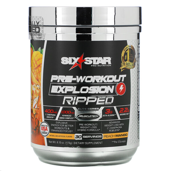 Six Star, Elite Series, Pre-Workout Explosion, Ripped, Peach Mango, 6.10 oz (173 g)