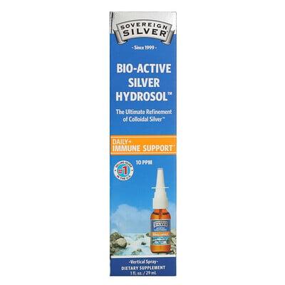 Купить Sovereign Silver Bio-Active Silver Hydrosol, (биоактивная добавка с серебром), вертикальный спрей, 10част./млн, 29мл (1жидк.унция)
