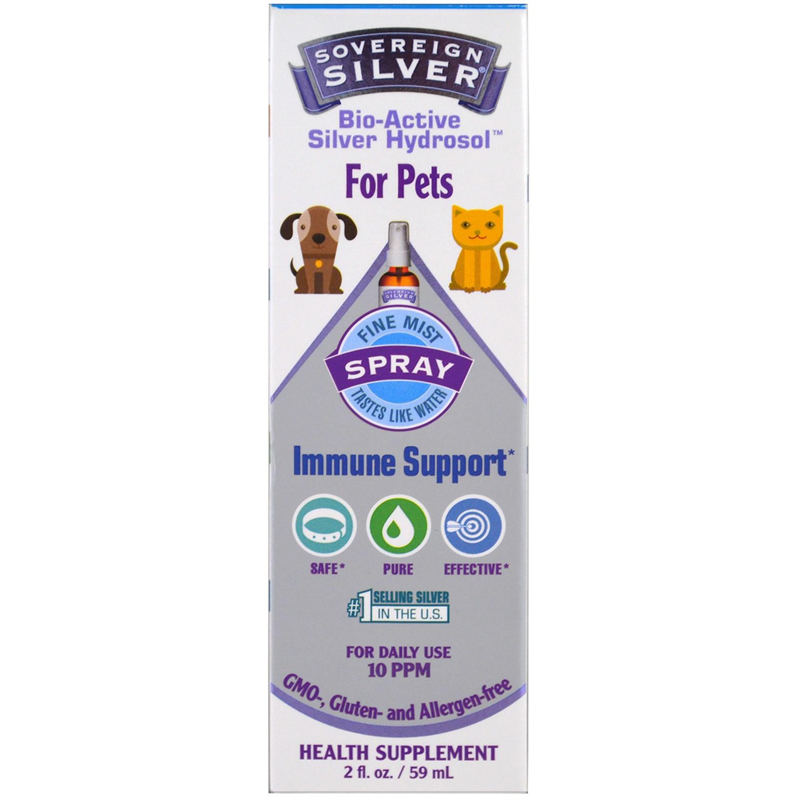 Sovereign Silver, Биоактивный серебряный гидрозоль, для животных, спрей для поддержки иммунитета, 2 унции (59 мл)