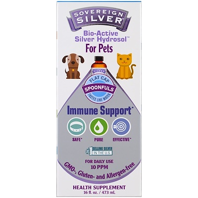 Sovereign Silver Bio-Active Silver Hydrosol, For Pets, Immune Support , 16 fl oz (473 ml)