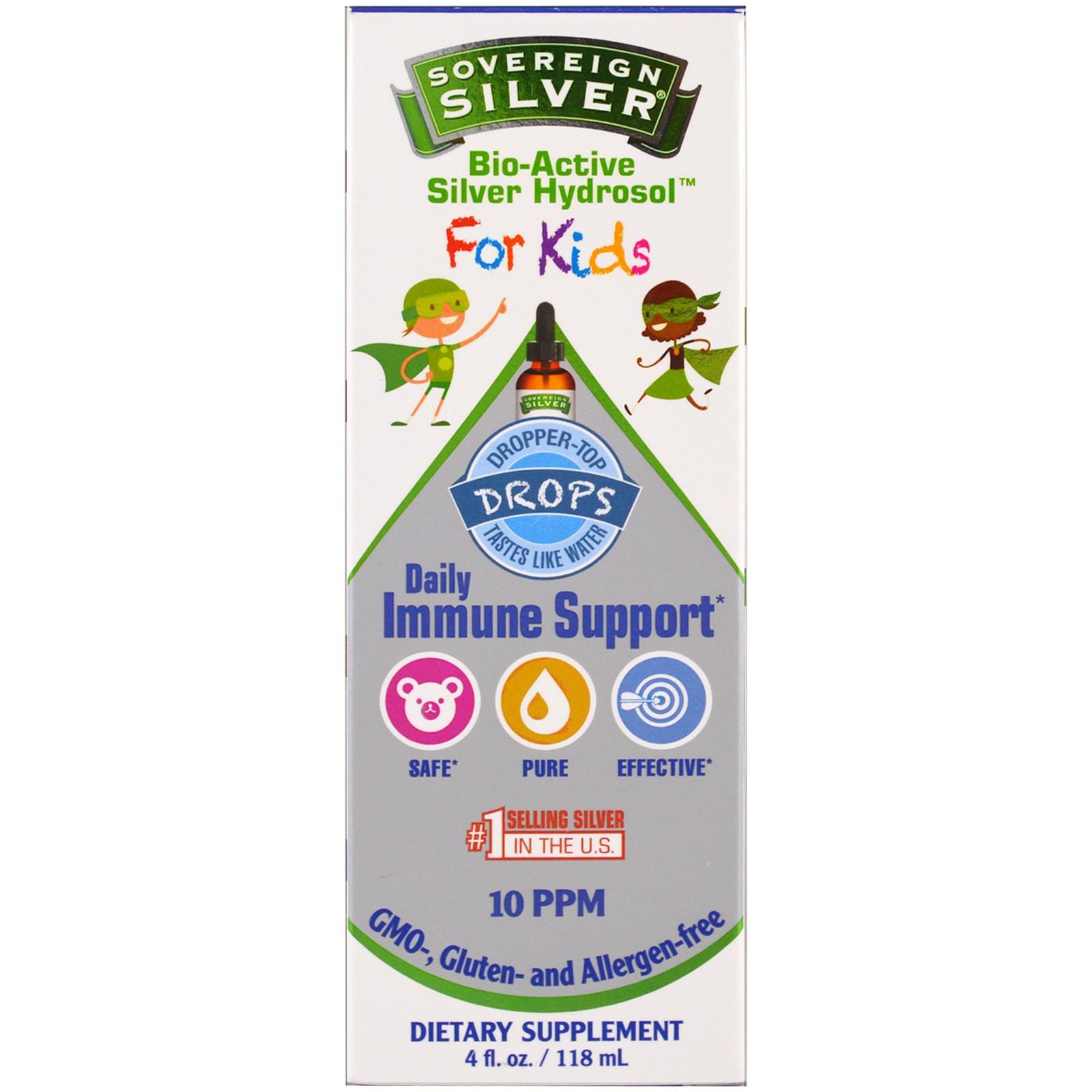 Sovereign Silver, Биоактивный серебряный гидрозоль для детей, капли для ежедневной поддержки иммунитета, 4 унции (118 мл)