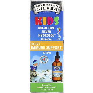 Sovereign Silver, Kids Bio-Active Silver Hydrosol, Daily Immune Support, Ages 4+, 10 PPM, 4 fl oz (118 ml)