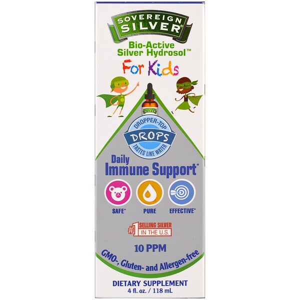 Sovereign Silver, Bio-Active Silver Hydrosol, For Kids, Daily Immune Support Drops, 10PPM, 4 fl oz (118 ml)