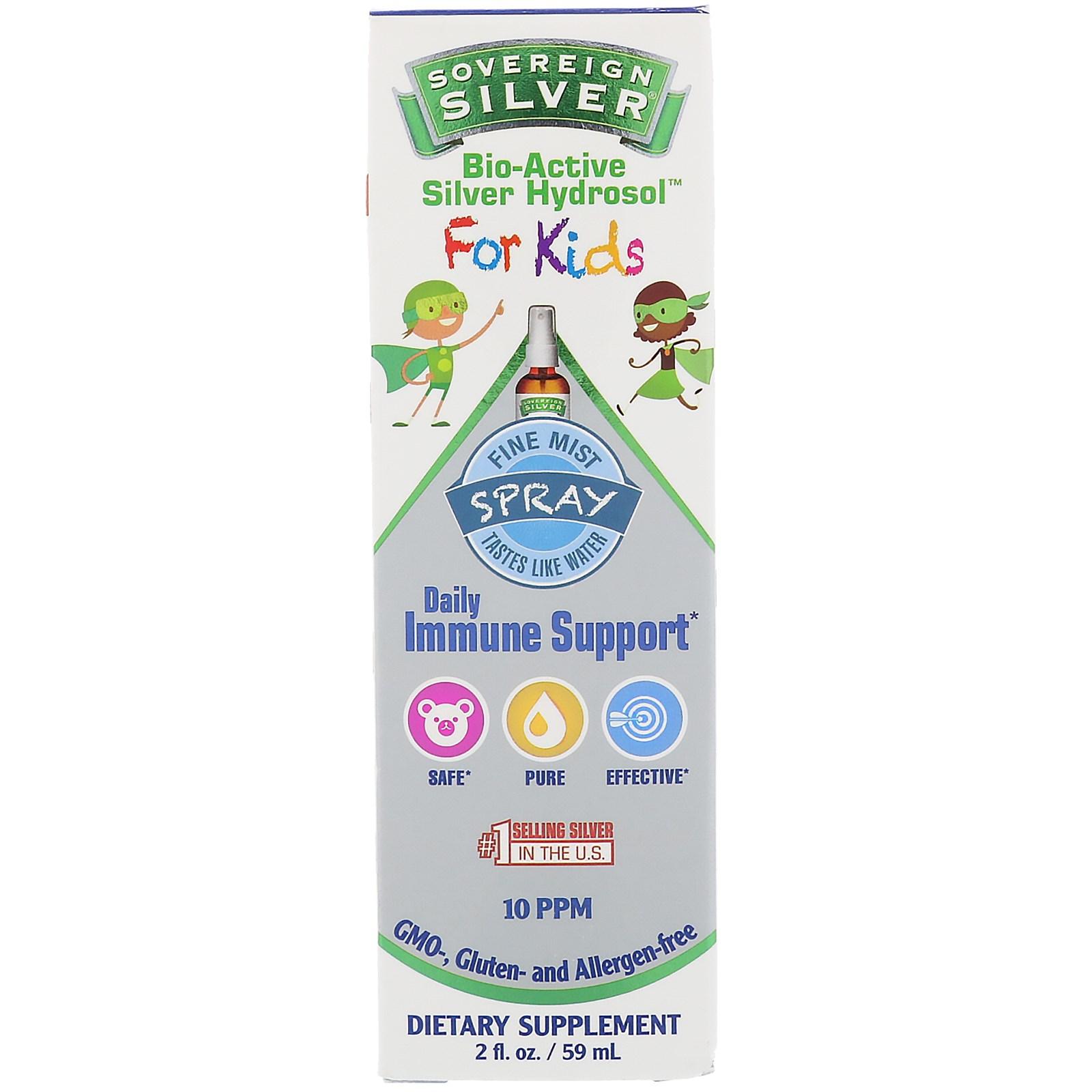 Sovereign Silver, Биоактивный серебряный гидрозоль для детей, спрей для ежедневной поддержки иммунитета, 2 унции (59 мл)