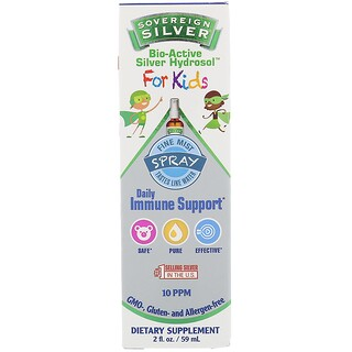 Sovereign Silver, Bio-Active Silver Hydrosol, For Kids, Daily Immune Support Spray, 2 fl oz (59 ml)