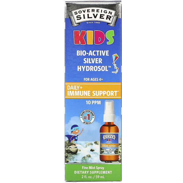 Sovereign Silver, Bio-Active Silver Hydrosol, Ages 4+, Daily Immune Support Spray, 10PPM, 2 fl oz (59 ml)