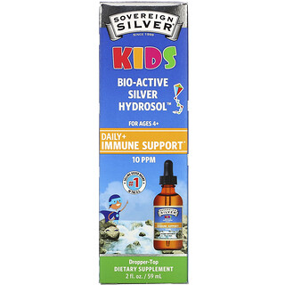 Sovereign Silver, Kids Bio-Active Silver Hydrosol, Daily Immune Support, Ages 4+, 10 PPM, 2 fl oz (59 ml)