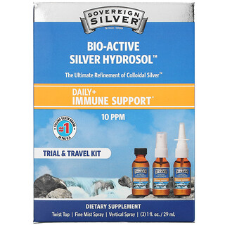 Sovereign Silver, Bio-Active Silver Hydrosol, Daily + Immune Support, Trial & Travel Kit, 10 PPM, 3 Piece Kit, 1 fl oz (29 ml) Each