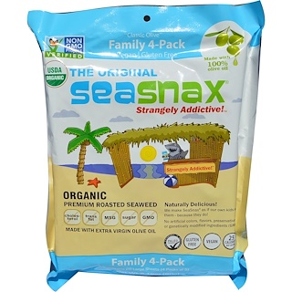 SeaSnax, Organic Premium Roasted Seaweed, The Original, 20 Large Sheets, 2.16 oz (60 g)