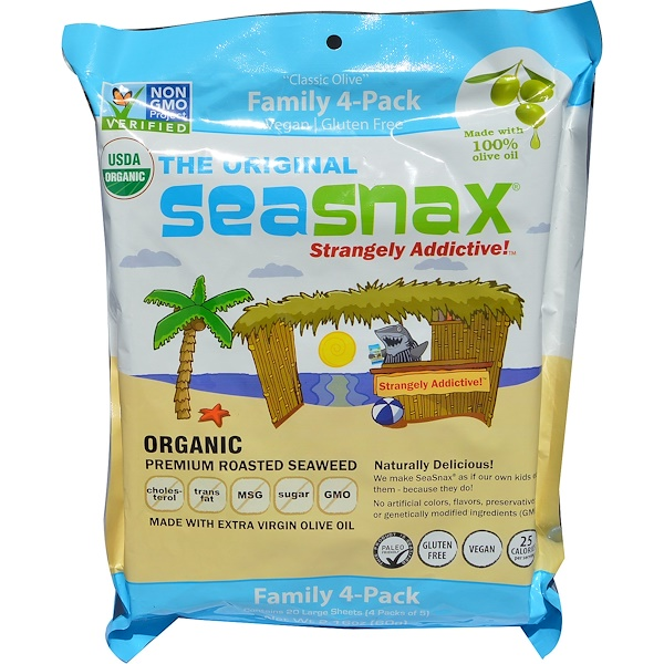 "SeaSnax, ""Classic"" Olive, Roasted Seaweed Snack, Four Pack, 5 sheets (.54 oz) Each"