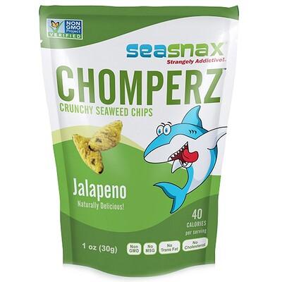 Chomperz, хрустящие чипсы из морских водорослей, с перцем халапеньо, 1 унций (30 г)