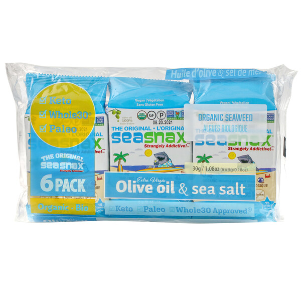 SeaSnax, Organic Seaweed,  Original, 6 Pack, 0.18 oz (5 g) Each