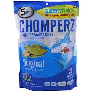 SeaSnax, Chomperz, Crunch Seaweed Chips, Original, 5 Single Serve Packs, 0.28 oz (8 g) Each