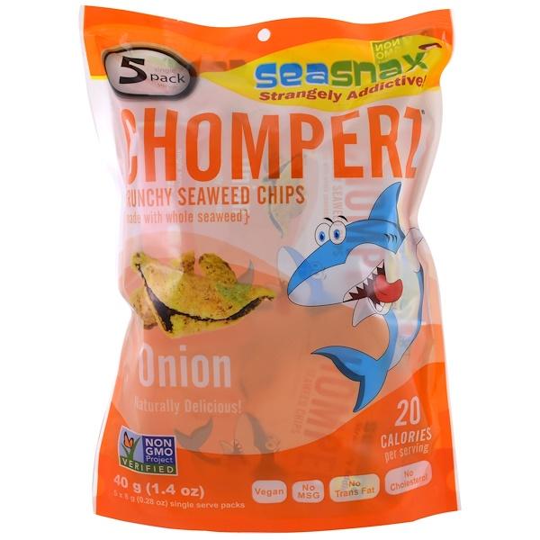 SeaSnax, Chomperz, Crunchy Seaweed Chips, Onion, 5 Single Serve Packs, 0.28 oz (8 g) Each (Discontinued Item)