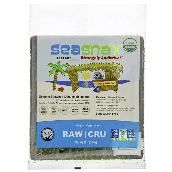 SeaSnax, Organic Raw Seaweed, 1.0 oz (28 g)