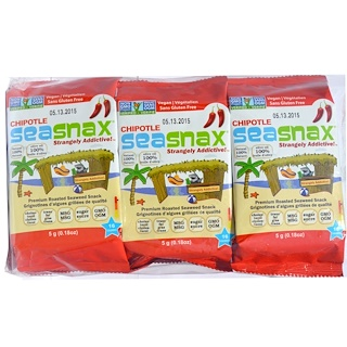 SeaSnax, Grab & Go, Premium Roasted Seaweed Snack, Spicy Chipotle, 6 Pack, 0.18 oz (5 g) Each