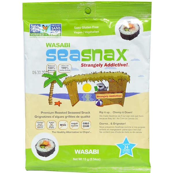 SeaSnax, Premium Roasted Seaweed Snack, Wasabi, 0.54 oz (15 g) (Discontinued Item)