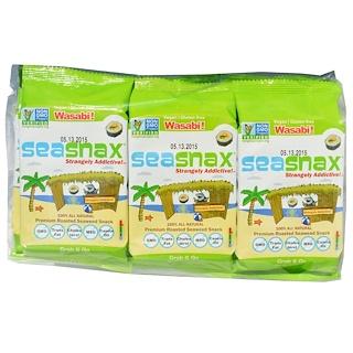 SeaSnax, Grab & Go, Premium Roasted Seaweed Snack, Wasabi, 6 Pack, 0.18 oz (5 g) Each