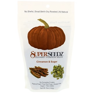 SuperSeedz, Gourmet Pumpkin Seeds, Cinnamon & Sugar, 5 oz (142 g)