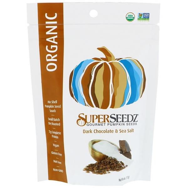 SuperSeedz, Gourmet Pumpkin Seeds, Organic, Dark Chocolate & Sea Salt, 4 oz (113 g)