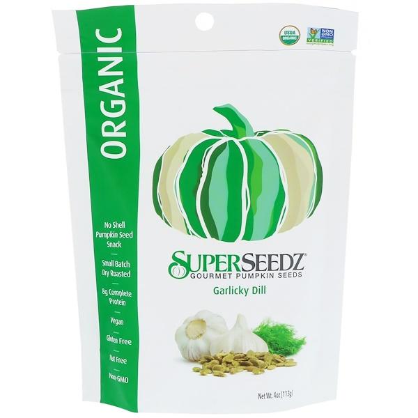 SuperSeedz, Gourmet Pumpkin Seeds, Organic, Garlicky Dill, 4 oz (113 g) (Discontinued Item)