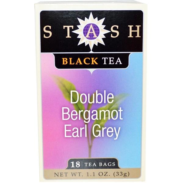 Stash Tea, 紅茶(Black Tea), ダブルベルガモット アールグレイ, 18ティーバッグ, 1.1オンス(33 g)