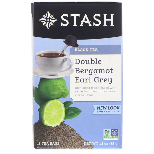 Stash Tea, Black Tea, Double Bergamot Earl Grey, 18 Tea Bags, 1.1 oz (33 g)