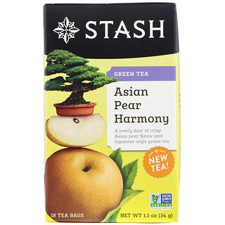 Stash Tea, Green Tea, Asian Pear Harmony, 18 Tea Bags, 1.1 oz (34 g)