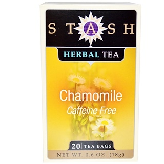 Stash Tea, Premium, Herbal Tea, Chamomile, Caffeine Free, 20 Tea Bags, 0.6 oz (18 g)