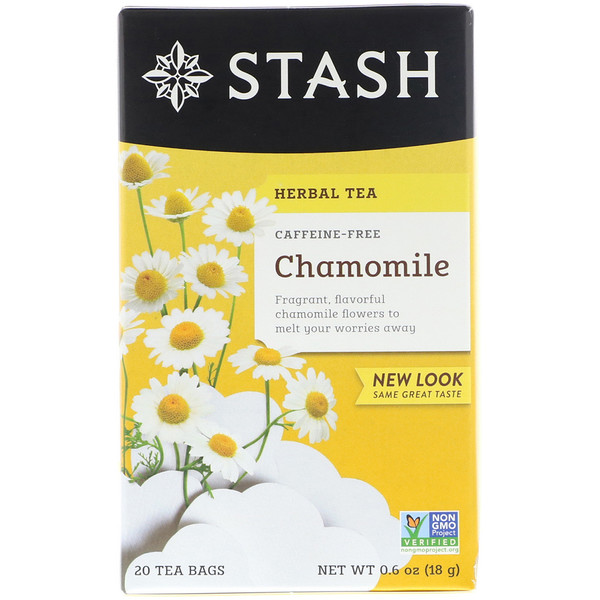 Stash Tea, Herbal Tea, Chamomile, Caffeine Free, 20 Tea Bags, 0.6 oz (18 g)