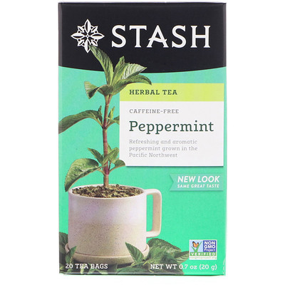 Herbal Tea, Peppermint, Caffeine Free, 20 Tea Bags, 0.7 oz (20 g)