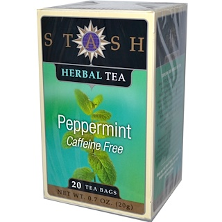 Stash Tea, Травяной чай высшего сорта, перечная мята, без кофеина, 20 чайных пакетиков, 0,7 унции (20 г)