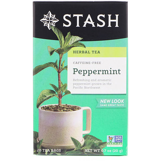 Stash Tea, Herbal Tea, Peppermint, Caffeine Free, 20 Tea Bags, 0.7 oz (20 g)