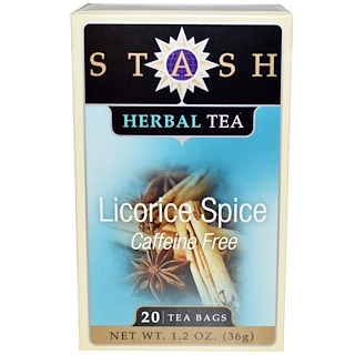 Stash Tea, Premium, Herbal Tea, Licorice Spice, Caffeine Free, 20 Tea Bags, 1.2 oz (36 g)