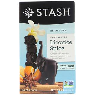 Stash Tea, Té herbal premium, regaliz especiado, sin cafeína, 20 bolsitas de té, 1.2 oz (36 g)