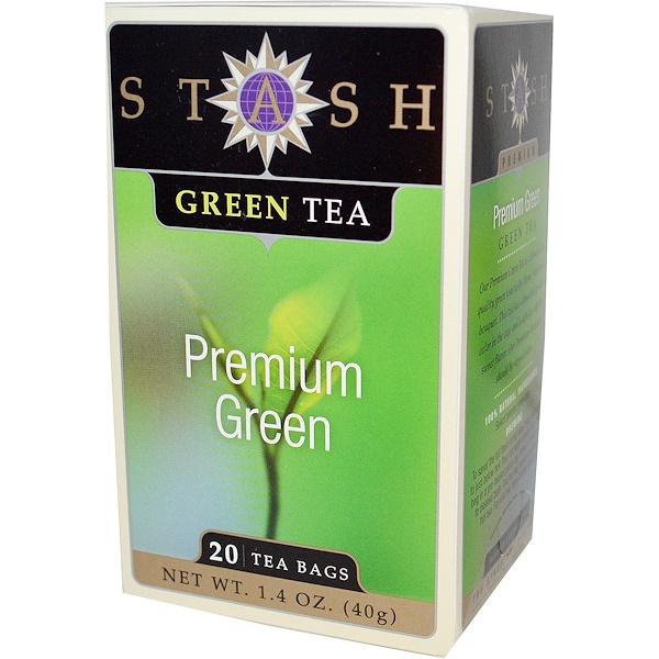 Stash Tea, Высший сорт, зеленый чай, Premium Green, 20 чайных пакетиков, 1,4 унции (40 г)