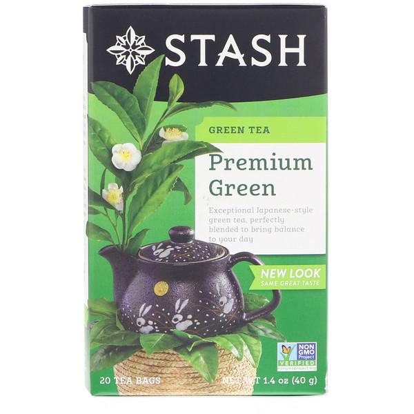 Stash Tea, Green Tea, Premium Green, 20 Tea Bags, 1.4 oz (40 g)