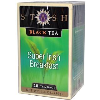 Stash Tea, Premium, Black Tea, Super Irish Breakfast, 20 Tea Bags, 1.4 oz (40 g)