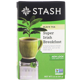 Stash Tea, Black Tea, Super Irish Breakfast, 20 Tea Bags, 1.4 oz (40 g)