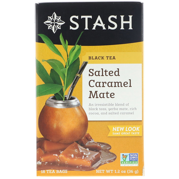 Stash Tea, Black Tea, Salted Caramel Mate, 18 Tea Bags, 1.2 oz (36 g) (Discontinued Item)