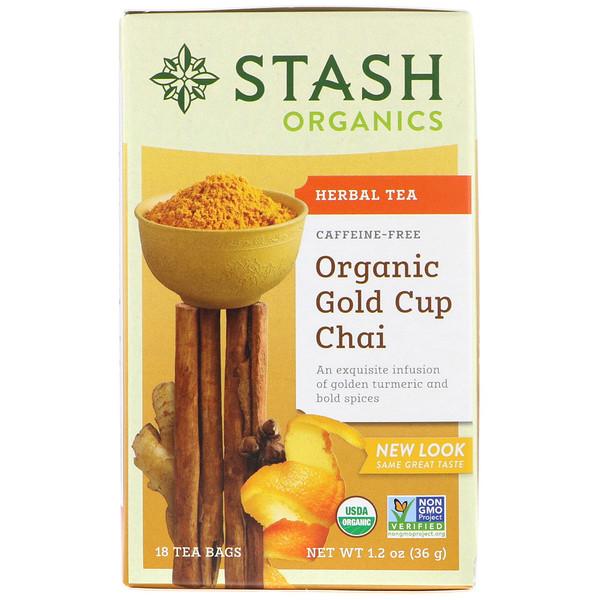 Stash Tea, ハーブティー、オーガニックゴールドカップチャイ、カップ、18ティーバッグ、1.2オンス (36 g)