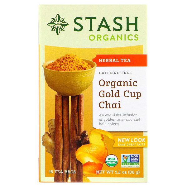 Herbal Tea, Organic Gold Cup Chai, Caffeine Free, 18 Tea Bags, 1.2 oz (36 g)