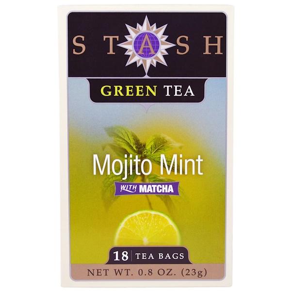 Stash Tea, Green Tea, Mojito Mint with Matcha, 18 Tea Bags, 0.8 oz (23 g) (Discontinued Item)